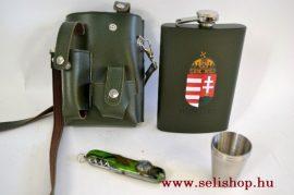 Flaska készlet BUTLER (4) laposüveg (2,5 dl) + 3 db pohár és zsebkés,  műbőr tokban, címeres magyaros férfi ajándék