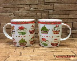 Bögre porcelán MIKULÁS (2) karácsonyi minta piros, 3,5 dl