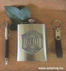 Flaska szett 60-as évszámos SZÜLETÉSNAP óncímkés + toll és kulcstartó