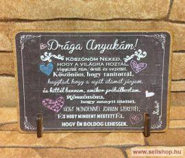 Állványos fa tábla ANYA vicces ajándék idézettel (11 x 8 cm)