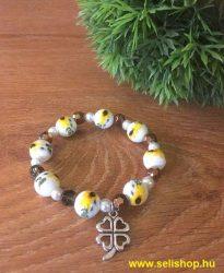 Karkötő CHARM SZERENCSE (7) női ajándék, porcelán, sárga