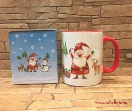 Bögre kerámia MIKULÁS (1) karácsonyi minta piros, 3,5 dl