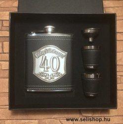 Flaska szett 40-es évszámos SZÜLETÉSNAP (2) óncímkés ajándék, díszdobozban