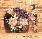 Süteményes - torta tál LILIOM + lapát, virágos női ajándék (lila)