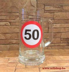 cc032a9cad Korsó SZÜLETÉSNAP 50-es évszámos ajándék, vicces sörös pohár 0,33 l