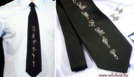 Nyakkendő VICCES megkötési utasítással, fekete