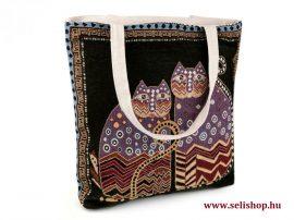 Táska textil MACSKA (1) gobelin 43 x 44 cm, cicás nosztalgia női ajándék