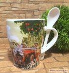 Bögre porcelán RETRO AUTO + kiskanál, nosztalgia ajándék