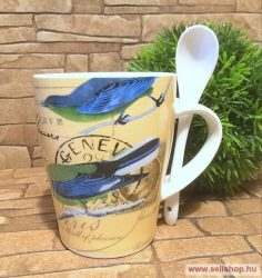 Bögre porcelán RETRO BIRD madár + kiskanál, nosztalgia ajándék