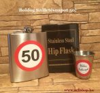 Ajándék szett - flaska kis pohárral, SZÜLETÉSNAP 50-es évszámos ajándékcsomag, laposüveg