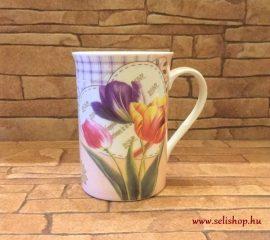 Bögre porcelán TULIPÁN virágos nosztalgia ajándék