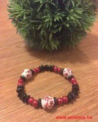 Karkötő FLEUR porcelán és fa, fekete piros