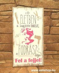 Hűtőmágnes - fa tábla FODRÁSZ (1) vicces ajándék