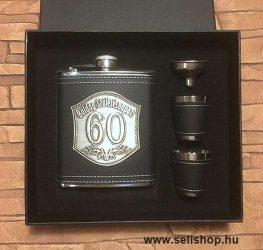 Flaska szett 60-as évszámos SZÜLETÉSNAP (2) óncímkés ajándék, díszdobozban