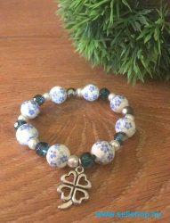 Karkötő CHARM SZERENCSE (4) női ajándék, kék, porcelán