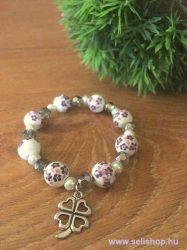 Karkötő CHARM SZERENCSE (5) női ajándék, lila, porcelán