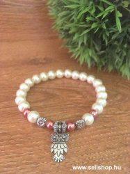 Karkötő CHARM BAGOLY (2) fehér, rózsaszín