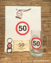 Ajándékcsomag 50-es SZÜLETÉSNAP (1) vicces, 3 részes, sörös ajándék, dísztasakkal