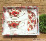 Teás készlet porcelán PIPACS díszdobozban, 2 személyes női ajándék